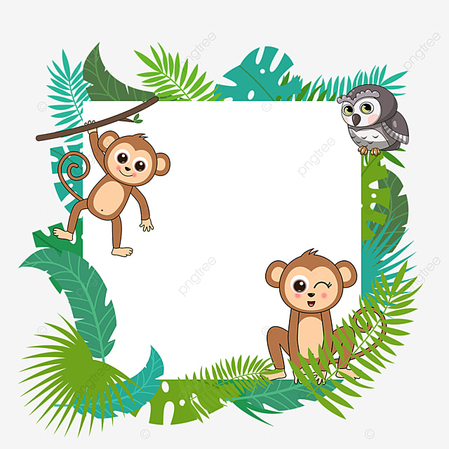 Monkey Owl Cartoon Jungle Animal Border Element Plant Leaf Owl Png Transparent Clipart Image And Psd File For Free Download