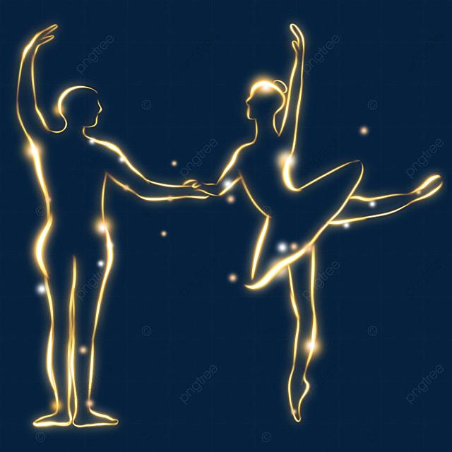 ballet figure golden light effect