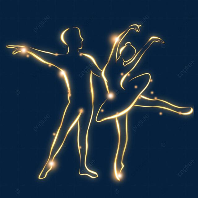 ballet golden light effect figure