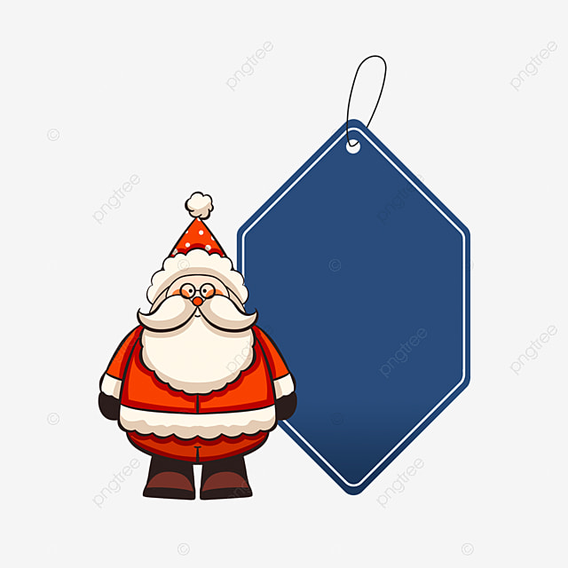 christmas label blue cute old man