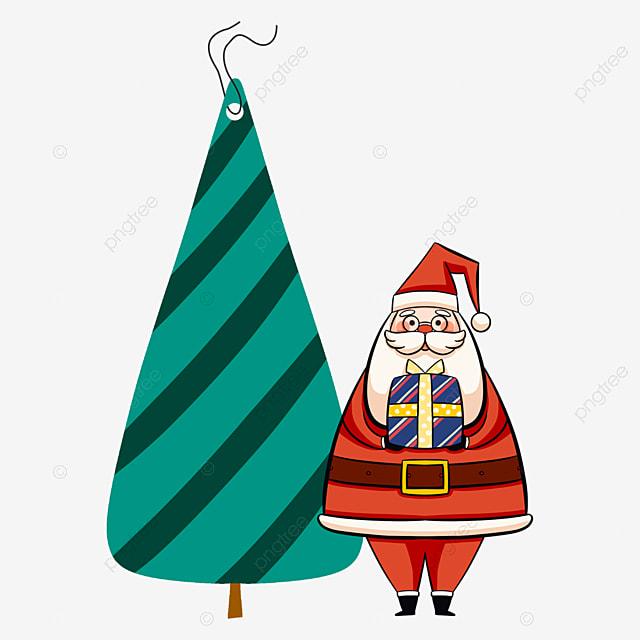 christmas label red old man christmas tree