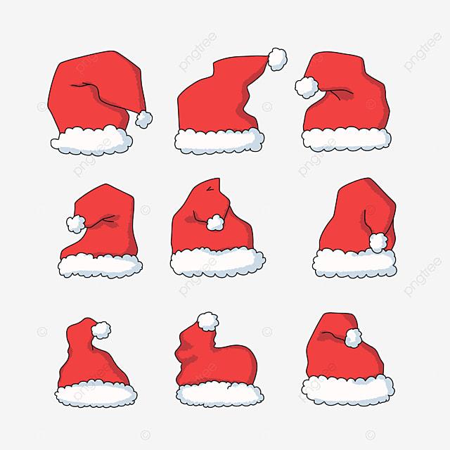 hand drawn cartoon christmas hat stickers