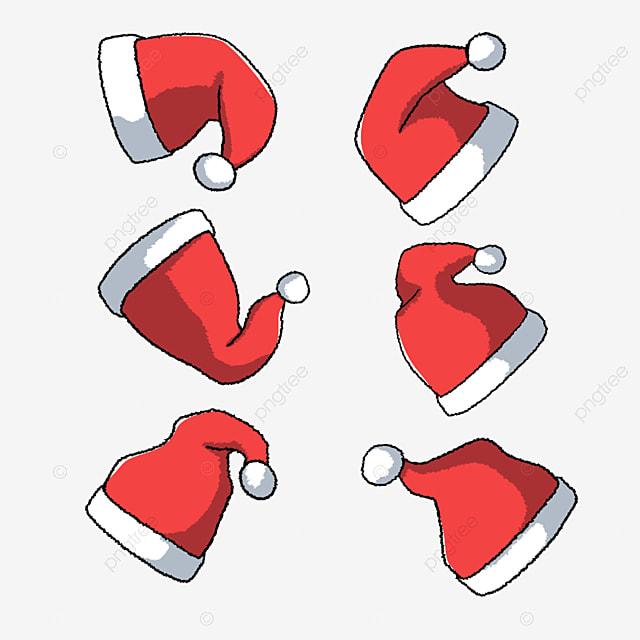 hand drawn cartoon red furry christmas hat