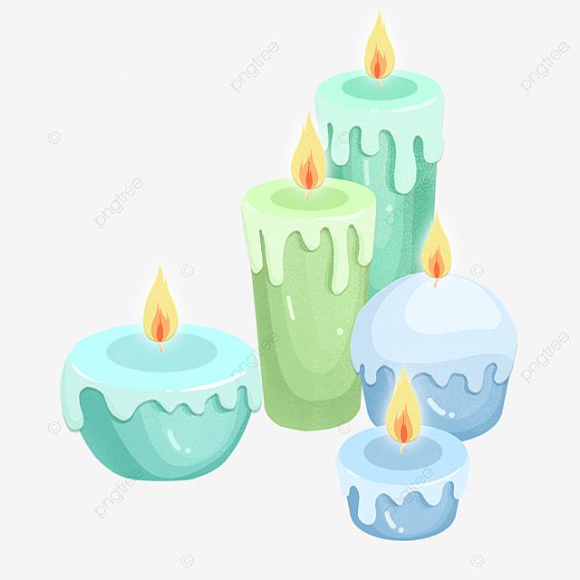 hand drawn flat burning candle