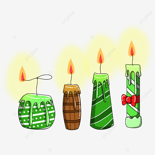 hand drawn flat linear burning candle