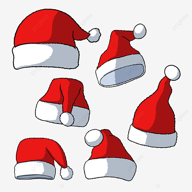 hand drawn holiday hat cartoon red christmas hat
