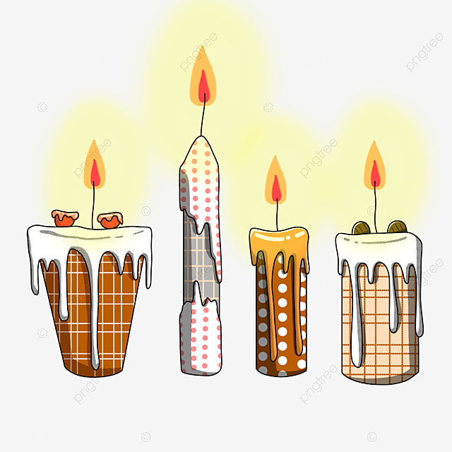 hand drawn linear art candle