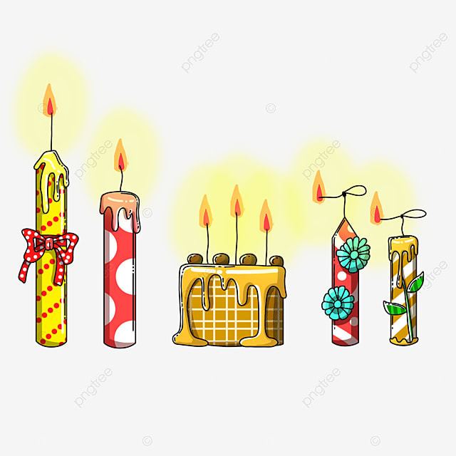 hand drawn linear cake candle
