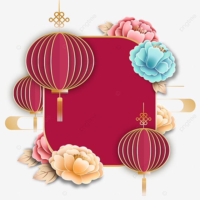 new year flower decoration three dimensional lantern border