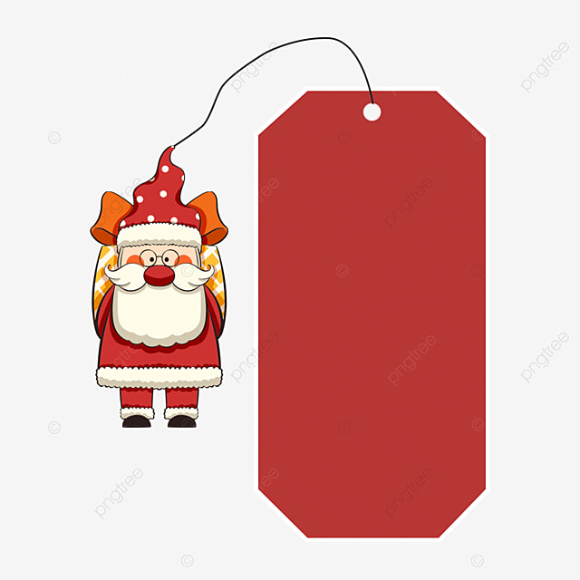 old man carrying a gift with christmas label