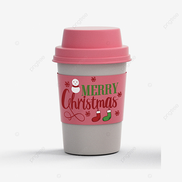 pink cute cup hand drawn art word merry christmas