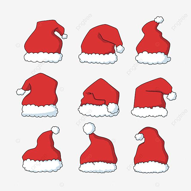 red hand drawn cartoon christmas hat