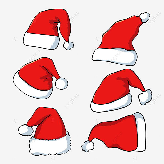 red hand drawn christmas hat
