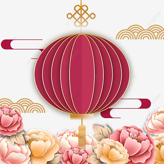 three dimensional flower decoration red lantern