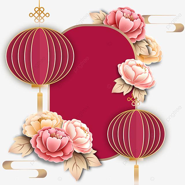 three dimensional lantern decoration luxury border
