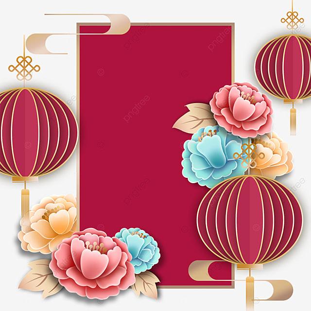 three dimensional lantern decoration red border