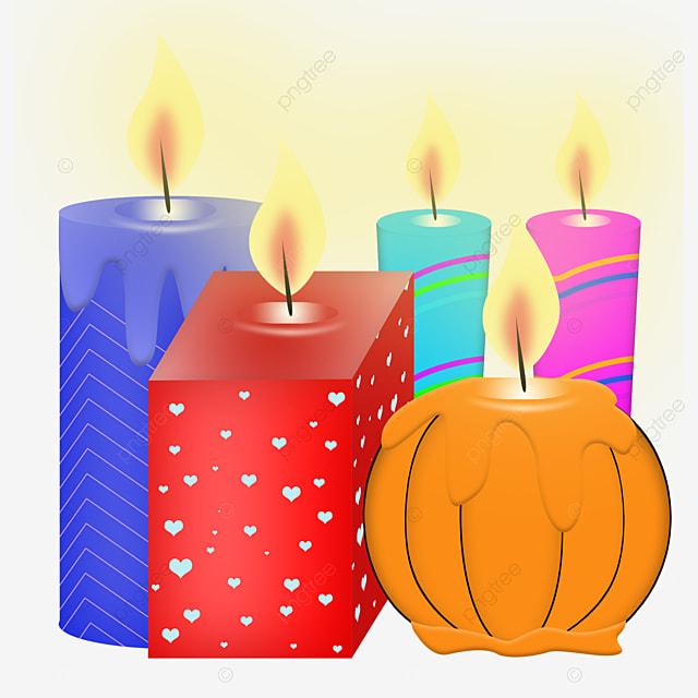colorful burning candles group illustration elements