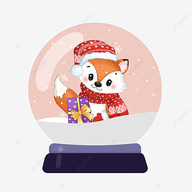 cartoon cute fox christmas crystal ball element