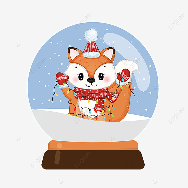 christmas crystal ball cute fox element