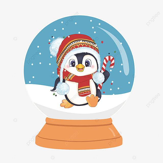 christmas crystal ball cute penguin elements