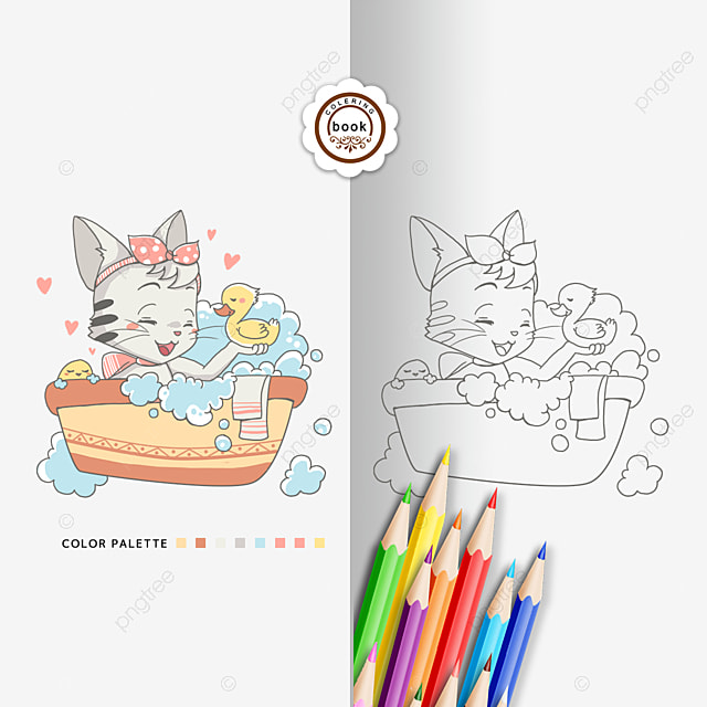 - Coloring Book Cute Kitten Coloring Card, Clipart Black And White, Coloring  Card, Pencil PNG Transparent Clipart Image And PSD File For Free Download