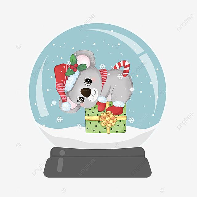 cute bear christmas crystal ball element