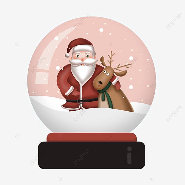 cute elk santa claus crystal ball element
