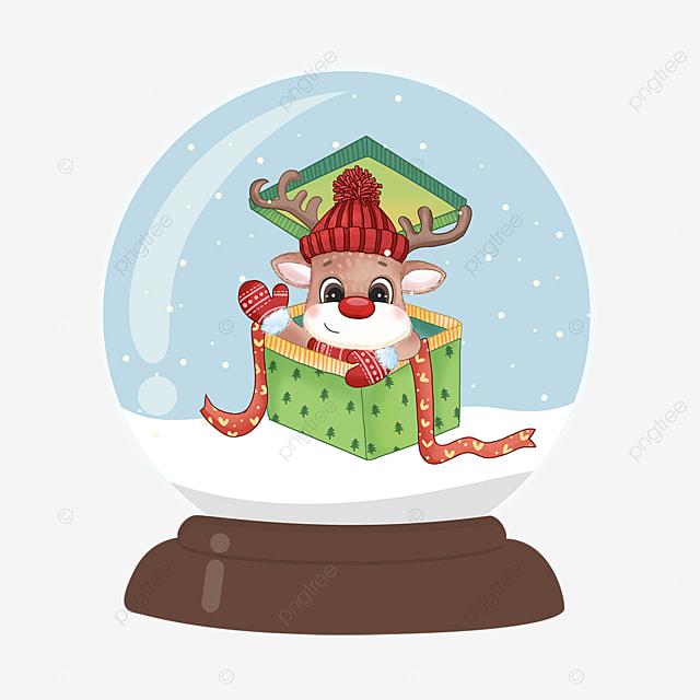 gift elk christmas crystal ball element