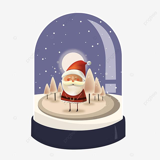 oval crystal ball snow santa element