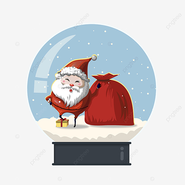 santa claus gift crystal ball element on snow