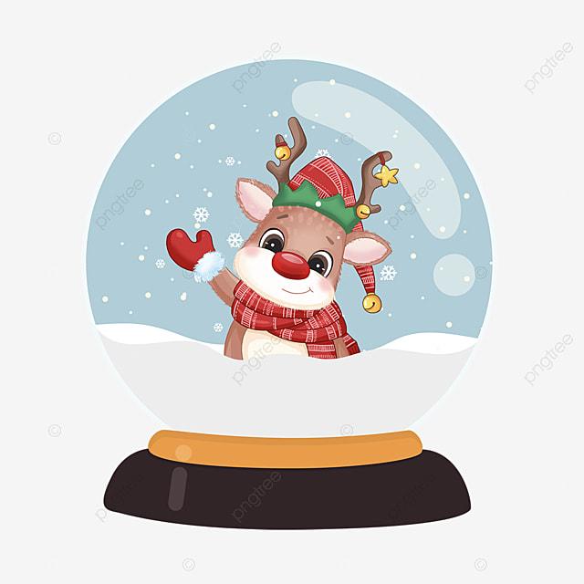 snow elk christmas crystal ball element