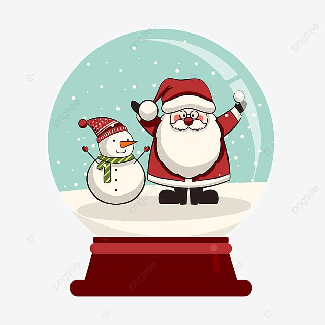 snowman and santa claus crystal ball elements