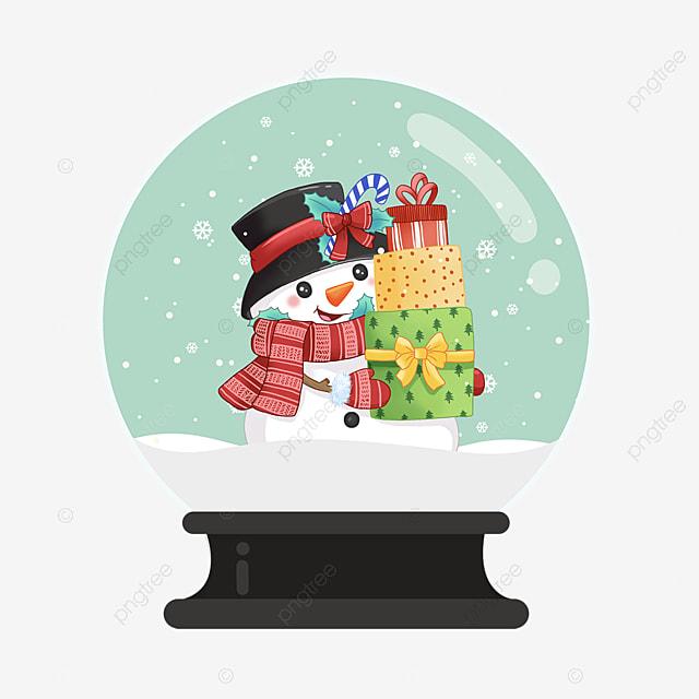 snowman gift christmas crystal ball element