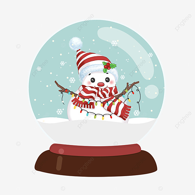 snowman wearing hat and scarf christmas crystal ball element