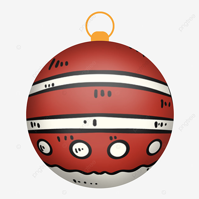 simple red striped christmas ball