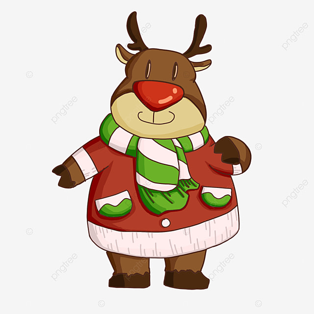 cartoon christmas elk in clothes clipart