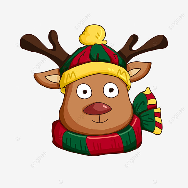 cartoon christmas elk wearing hat and scarf clipart
