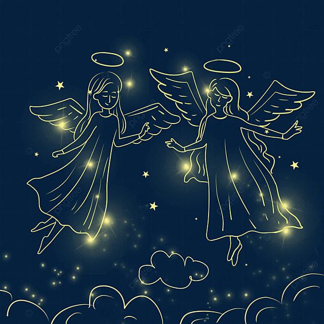 cartoon christmas glowing angel