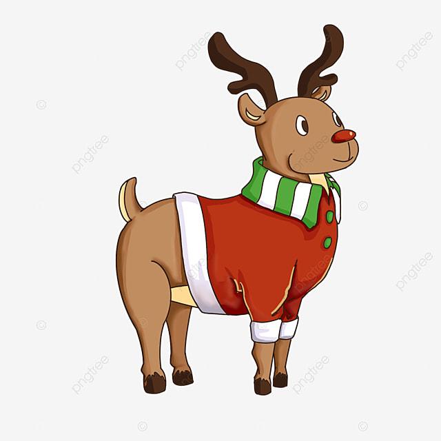 cartoon wearing christmas elk clipart