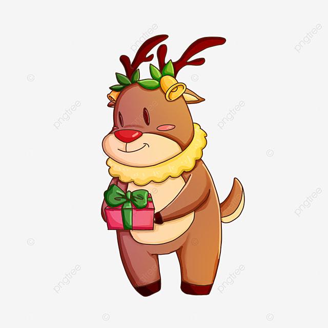 christmas elk holding gifts clip art