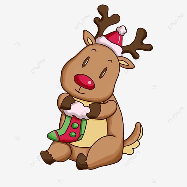 christmas elk holding socks clipart