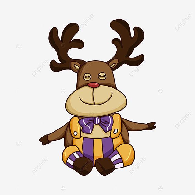 christmas elk in gown clip art