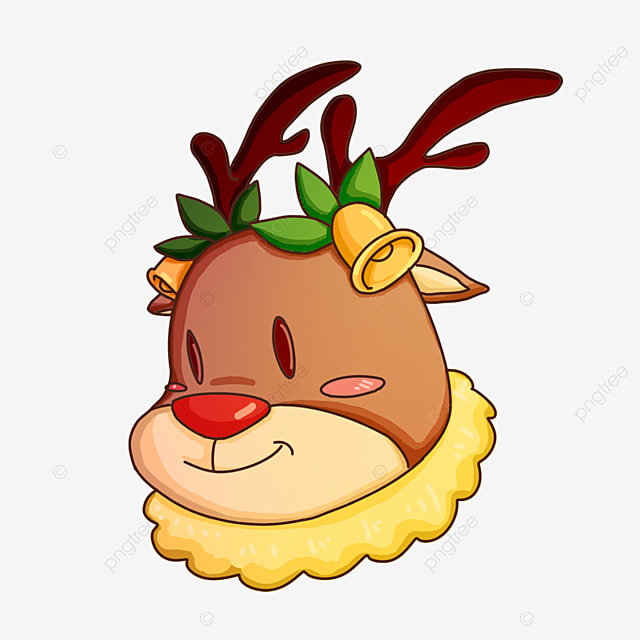 christmas elk with bells flower head clip art
