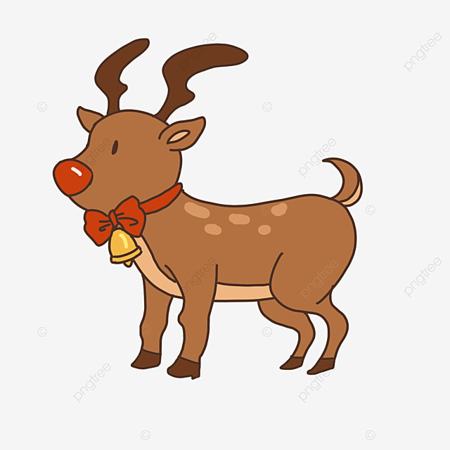 christmas elk with bow bells clip art