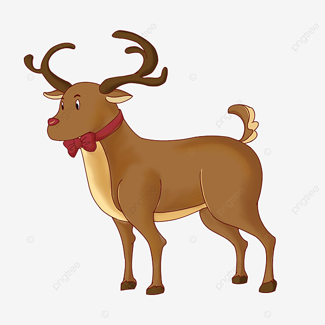 christmas elk with bow clip art