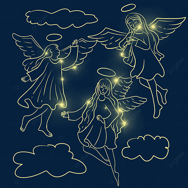 christmas glowing angel in the sky