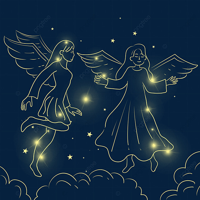 christmas glowing angels playing