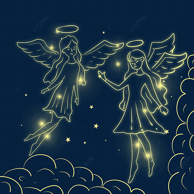 christmas glowing hand drawn angel