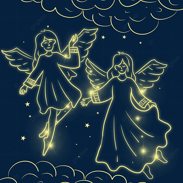 christmas glowing line angel