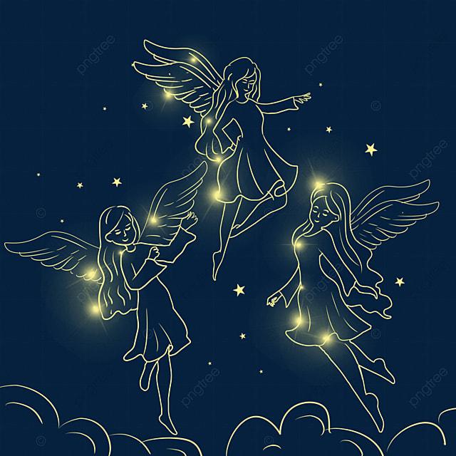 flying christmas glowing angel